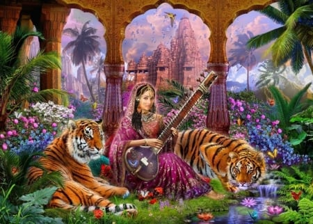 Indian Harmony - frumusete, luminos, orange, indian, odalisque, tiger, ee, tree, fantasy, instrument, girl, green, tigru, pink