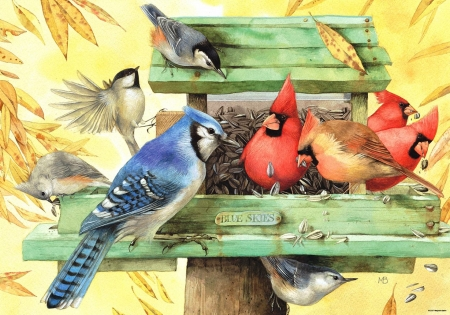 Blue Skies - blue jay, chickadees, cardinals, bird feeder, painting, birds