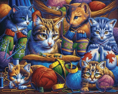Kittens knittin mittens - painting, cats, basket, wool