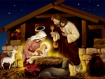 Mary Lays Jesus In Manger