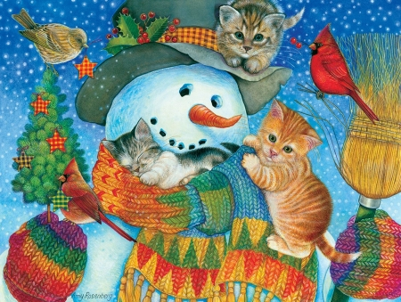 ♥ - sleep, christmas, craciun, cat, snowman, winter, iarna, cute, bird, painting, kitten, amy rosenberg, pictura