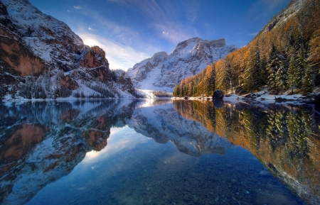 Lake Braies in november - cold sunrise - fall, forest, autumn, november, Italy, beautiful, lake, cold, mountain, snow, dolomites, sunrise, Braies, reflection
