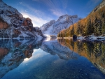 Lake Braies in november - cold sunrise
