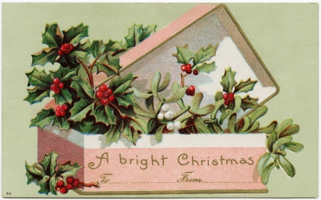 Merry Christmas! - green, box, gift, pink, vintage, card, red, craciun, christmas, mistletoe