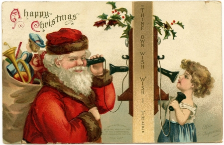 Merry Christmas! - red, santa, christmas, craciun, phone, child, card, vintage