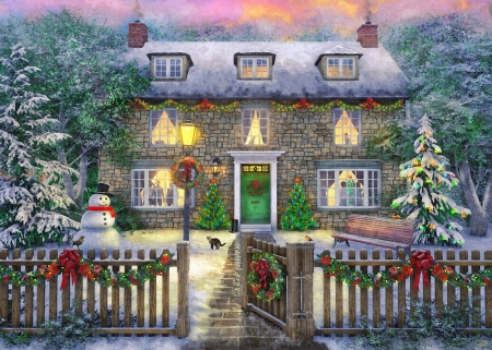 Christmas House - fence, cottage, snow, digital, trees, snowman, artwork, winter