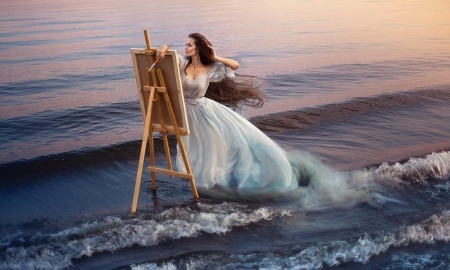 Woman Painting The Sea - woman, lady, softness, sea, Lovely, ethereal, ocean, Femininity, waves, beauty, painting