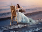 Woman Painting The Sea