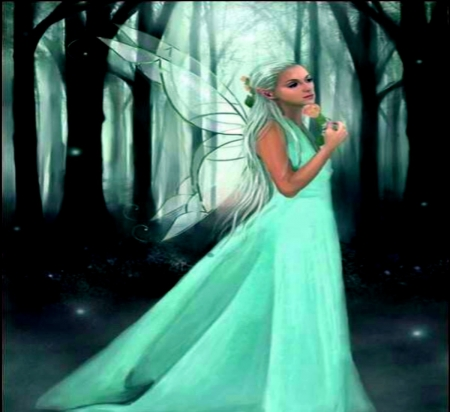 Lime Fairy - Fairy, Forest, Lime, Trees, Green, Women, Beautful, Wings
