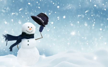 Happy Holidays! - snowman, blue, winter, iarna, hat, christmas, holiday, craciun, cute, snow, scarf