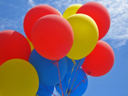 Balloons - colorful, red, balloon, romania, day, national, yellow, blue, birthday
