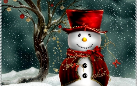 Christmas Snowman - Red, Hat, Christmas, Buttons, Snowman, Tree