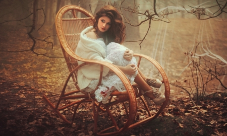Leisure Day in Fall - lady, softness, autumn, lovely, model, browns, Leaves, femininie, brunette, beauty, Woman, chair, relaxing