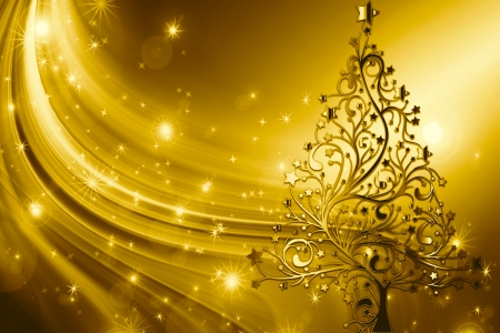 Christmas Gold - Tree, Golden, Gold, Pretty, Christmas, Star
