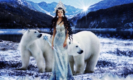 The Queen of Ice - Feminine, winter, cold, dreamy, polar bears, queen, Lady, fantasy, mountains, magical, ice, princess