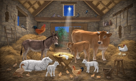 Christmas Manger - manger scene, christian, Holy night, Animals, cows, JESUS Christ, Christmas, holidays, sheep, Birth