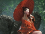Girl with a red parasol