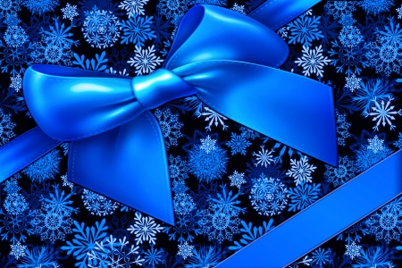 Blue Christmas - Pretty, Christmas, Gift, Bow, Beautiful, Festive, Blue, Snowflakes