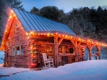 Residential Log Cabin at Christmas