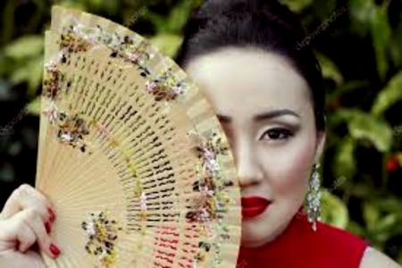 Japanese Female With Hand Fan - Brunette, Red, Japanese, Female, Fan, Beautiful, Hand
