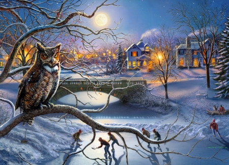 Edge of town - village, evening, edge, winter, night, art, owl, town, beautiful, moon, snow, bridge