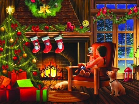 Dreaming of Christmas - christmas, decoration, dream, gifts, cozy, home, beautiful, eve, fireplace, santa, tree