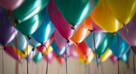 Balloons - balloon, birthday, colorful, green, yellow, pink