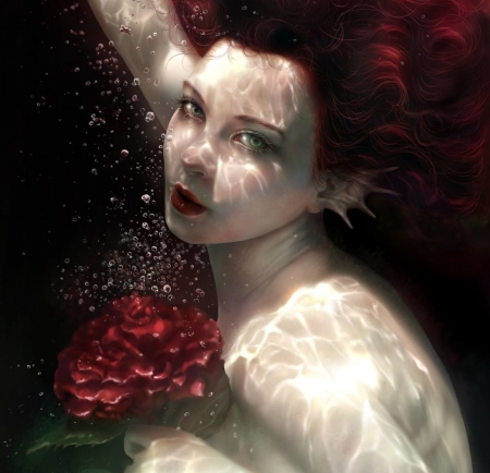 Mermaid - red, underwater, usagi christy lam, luminos, rose, mermaid, black, vara, fantasy, girl, dark, summer, flower, face, siren