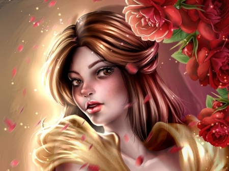 Belle - red, beauty and the beast, laurart88, luminos, rose, girl, belle, face