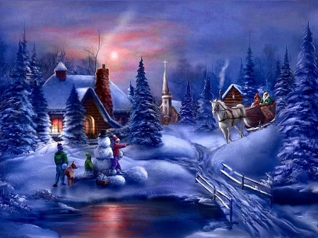 Winter fun - sleigh, children, cabin, snowballs, church, horse, trees, firs, bridge, snow, people, painting, river