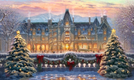 Christmas Decorated Mansion - christmas, decorations, Mansion, christmas trees, winter, lights, wreath, house, holidays, magical