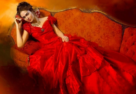 Lady in Red - red, art, fantasy, girl, gown, digital, silk, woman, romantic