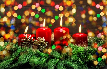 Christmas candles - decoration, arrangement, beautiful, branches, lights, candles, cone, colorful, christmas, holiday, winter