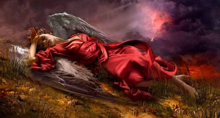 Fallen Angel - art, fantasy, girl, wallpaper, angel, digital, beautiful, woman, resting