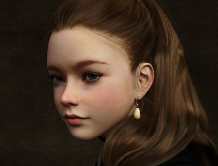 Girl with a pearl earring - girl, fantasy, sirtancrede, pearl, face, earring