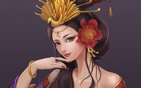 geisha - fantasy, brown, art, flowers, girls, geisha