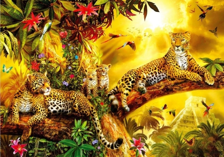 Jungle Jaguars - resting, family, tree, cubs, painting