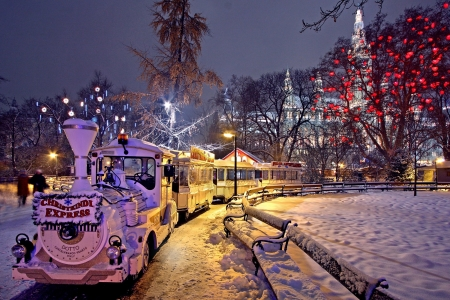 Vienna - winter, city, train, snow, houses, austria, night