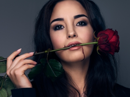 beauty with rose - woman, faces, models, female, rose, beauty, roses