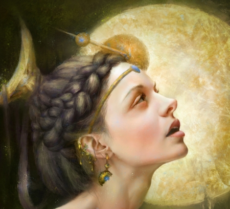 Moon Goddess - art, frumusete, luna, golden, goddess, yellow, hao wang, fantasy, moon, girl, haowang, jewel, face, g