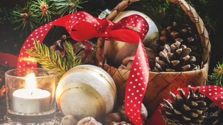 Light on Decorations - decoratiaons, winter, light, Christmas, candle, Feliz Navidad, holiday, New Years, red ribbon, nuts, pine cones, basket