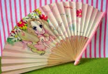 Japanese Retro Seventies Girl Hand Fan - Pink, Fan, Japanese, Girl, Flowers, Retro, Seventies, Hand
