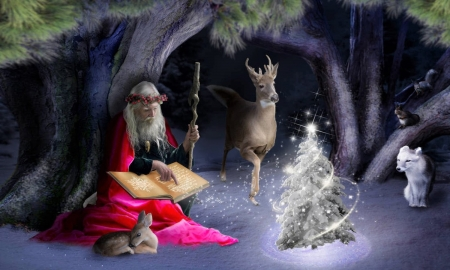 Magical Christmas - fantasy, christmas tree, snow, christmas, magical, deer, old man, winter, cave