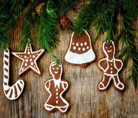 Gingerbread Cookies - White, Brown, Cookies, Gingerbread