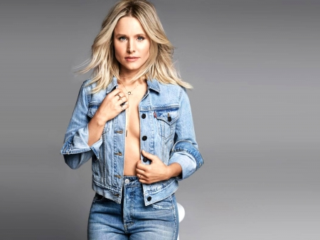 Kristen Bell - model, Kristen Bell, beautiful, stool, 2019, actress, Kristen, jacket, jeans, wallpaper, hot, Bell, cleavage