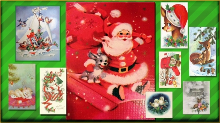 Vintage Christmas Animals collage - Christmas, Reindeer, Christmas Kitten, Gifts, Christmas Puppy, Santa, Birds, Holly