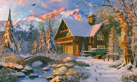 Holiday Cabin in The Rockies - house, Mountains, holidays, bridge, home, Cabin, winter, stream, retreat, Scenic