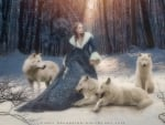 Model With White Wolves
