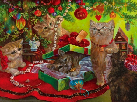 Kissmas play toys - sweet, play, toys, art, holiday, christmas, fluffy, kittens, adorable, winter, cute, funny, gifts
