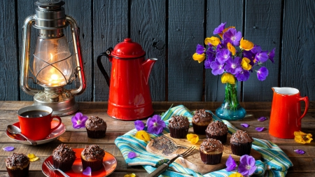 Still Life - can, coffee, cake, lantern, cup, flowers